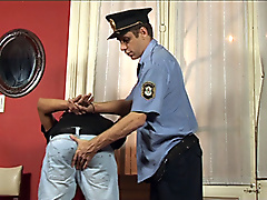 mature policeman handcuffs mouth fucks