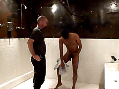 wetroom mask restraints nipple play baton fucking